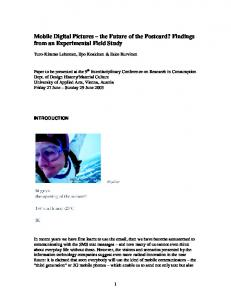 Mobile Digital Pictures the Future of the Postcard? Findings from an Experimental Field Study