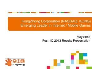 Mobile Games. May 2013 Post 1Q 2013 Results Presentation
