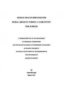 MOBILE HEALTH SERVICES FOR RURAL AREAS IN TURKEY: A CASE STUDY FOR BURDUR
