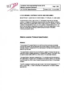 Mobile Location Protocol Specification