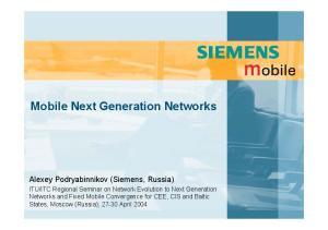Mobile Next Generation Networks