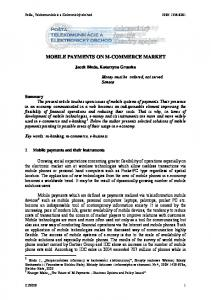 MOBILE PAYMENTS ON M-COMMERCE MARKET