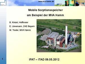 Mobile Sorptionsspeicher am Beispiel der MVA Hamm IFAT ITAD