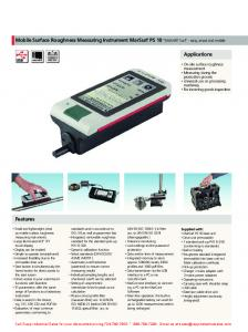 Mobile Surface Roughness Measuring Instrument MarSurf PS 10