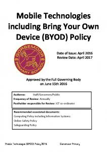 Mobile Technologies including Bring Your Own Device (BYOD) Policy