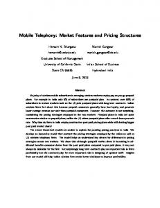 Mobile Telephony: Market Features and Pricing Structures