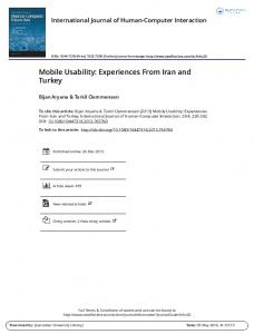 Mobile Usability: Experiences From Iran and Turkey