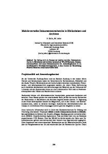 Mobile verteilte Dokumentenrecherche in Bibliotheken und Archiven