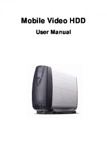 Mobile Video HDD. User Manual