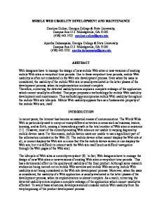 MOBILE WEB USABILITY DEVELOPMENT AND MAINTENANCE