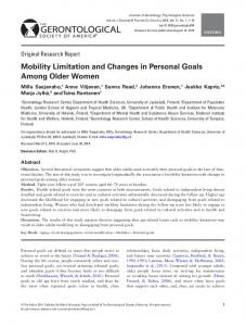 Mobility Limitation and Changes in Personal Goals Among Older Women