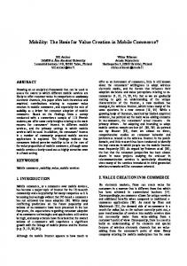 Mobility: The Basis for Value Creation in Mobile Commerce?