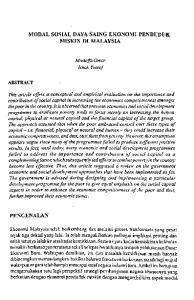 MODAL SOSIAL DAYA SAING EKONOMI PENDUDUK MISKIN DI MALAYSIA