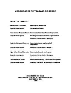 MODALIDADES DE TRABAJO DE GRADO