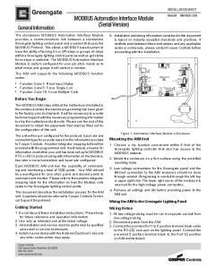 MODBUS Automation Interface Module (Serial Version)