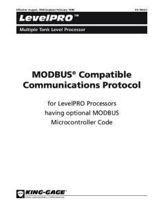 MODBUS Compatible Communications Protocol