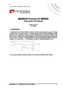 MODBUS Protocol for MORSE Description of Protocol