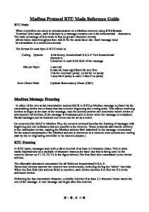 Modbus Protocol RTU Mode Reference Guide
