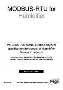 MODBUS-RTU for Humidifier