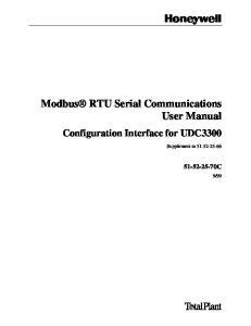 Modbus RTU Serial Communications User Manual