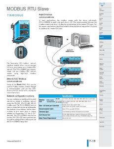 MODBUS RTU Slave T1K-MODBUS. Asynchronous. communications. DirectLOGIC Modbus. communications. Network configuration options