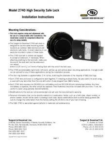 Model 2740 High Security Safe Lock. Installation Instructions. Mounting Considerations: