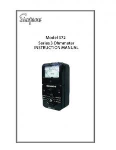 Model 372 Series 3 Ohmmeter INSTRUCTION MANUAL