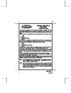 Model 5BLCR & 5BLCRA Programming Guide