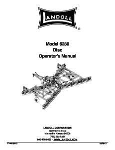 Model 6230 Disc Operator s Manual
