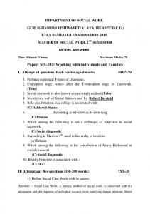 MODEL ANSWERS. Paper: MS-202: Working with individuals and Families