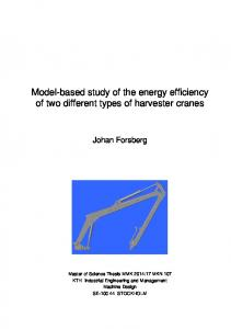 Model-based study of the energy efficiency of two different types of harvester cranes