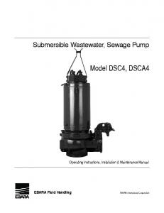 Model DSC4, DSCa4. Submersible Wastewater, Sewage Pump. Operating Instructions, Installation & Maintenance Manual. Ebara Fluid Handling