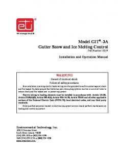 Model GIT 3A Gutter Snow and Ice Melting Control