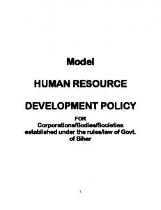 Model HUMAN RESOURCE DEVELOPMENT POLICY