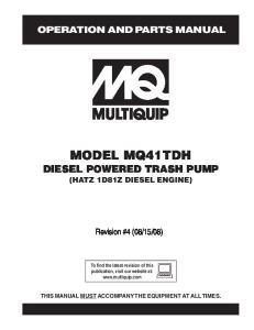 MODEL MQ41TDH DIESEL POWERED TRASH PUMP (HATZ 1D81Z DIESEL ENGINE)