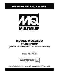 MODEL MQ62TDD TRASH PUMP