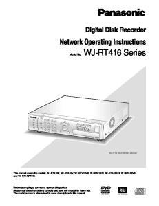Model No. STOP PLAY PAUSE REC REC STOP. Digital Disk Recorder WJ-RT416