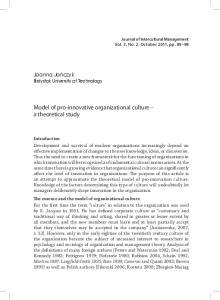 Model of pro-innovative organizational culture a theoretical study