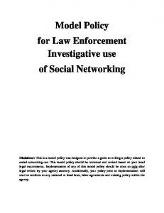 Model Policy for Law Enforcement Investigative use of Social Networking