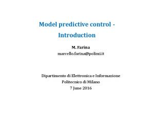 Model predictive control - Introduction