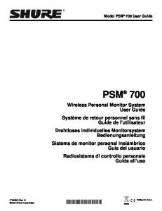Model PSM 700 User Guide PSM 700