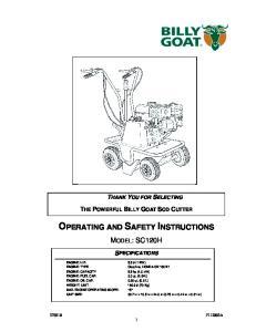 MODEL: SC120H SPECIFICATIONS. ENGINE: OIL CAP qt. (0.6 L)