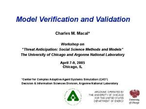 Model Verification and Validation