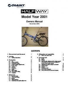 Model Year Owners Manual November 2000 CONTENTS. 1. Why you should read this manual