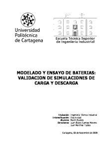 MODELADO Y ENSAYO DE BATERIAS: VALIDACION DE SIMULACIONES DE CARGA Y DESCARGA