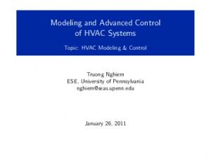 Modeling and Advanced Control of HVAC Systems