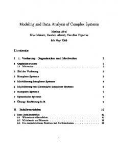Modeling and Data Analysis of Complex Systems
