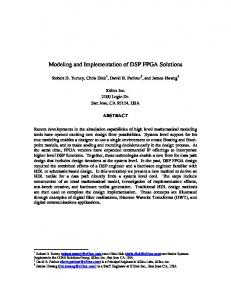 Modeling and Implementation of DSP FPGA Solutions
