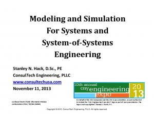 Modeling and Simulation For Systems and System-of-Systems Engineering