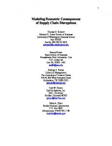 Modeling Economic Consequences of Supply Chain Disruptions